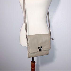 [Calvin Klein] Grey Leather Small Crossbody Purse